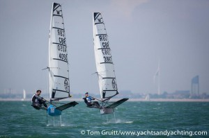 Chris Draper eyeing up Leigh Albrecht's Exocet at the 2014 Worlds